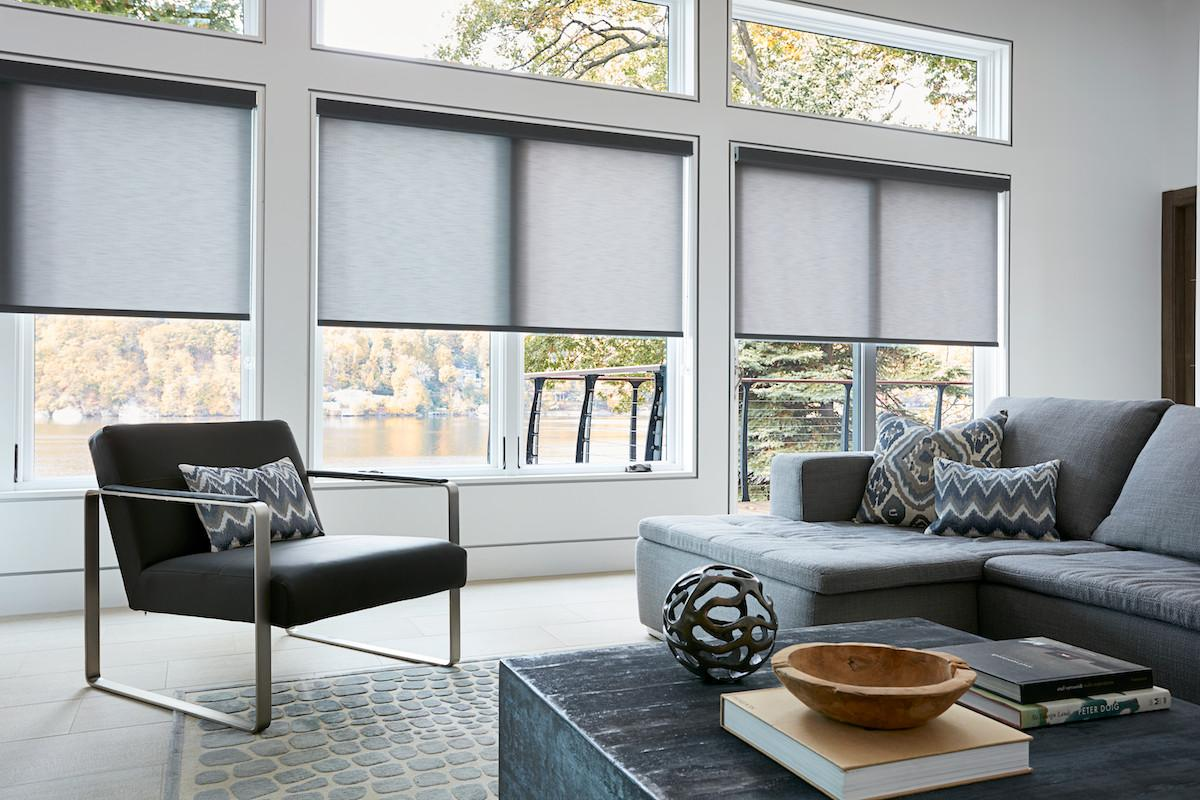 Roller shades lend a clean, modern look to a living room overlooking a lake