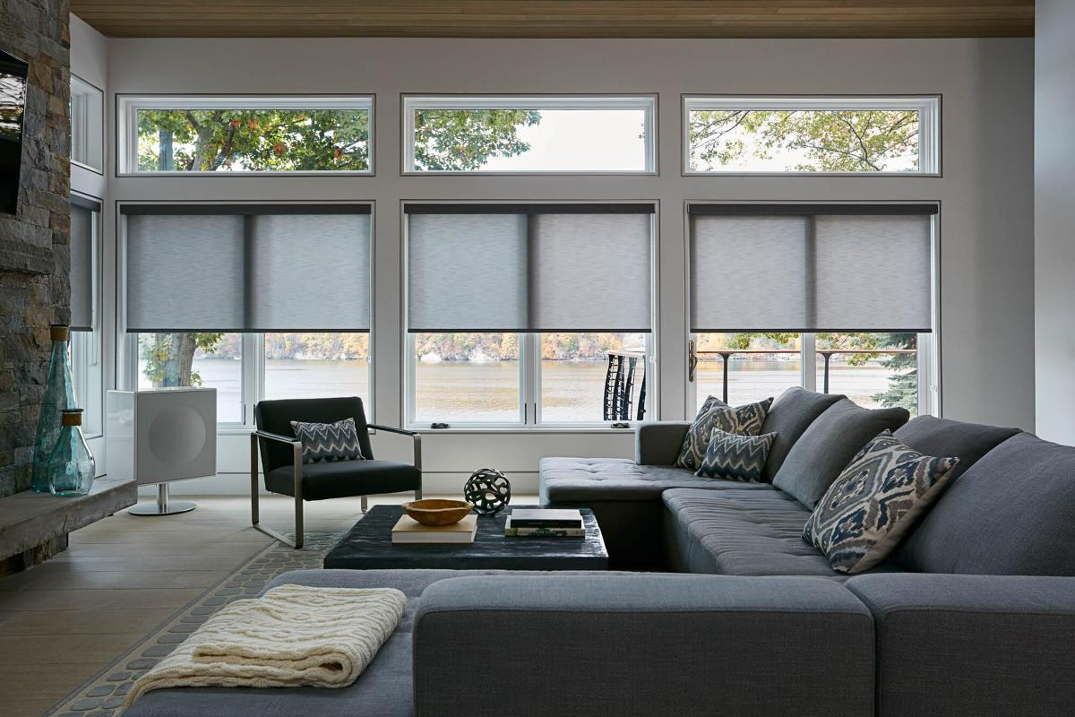 Explore our new roller shade in a modern living room setting.