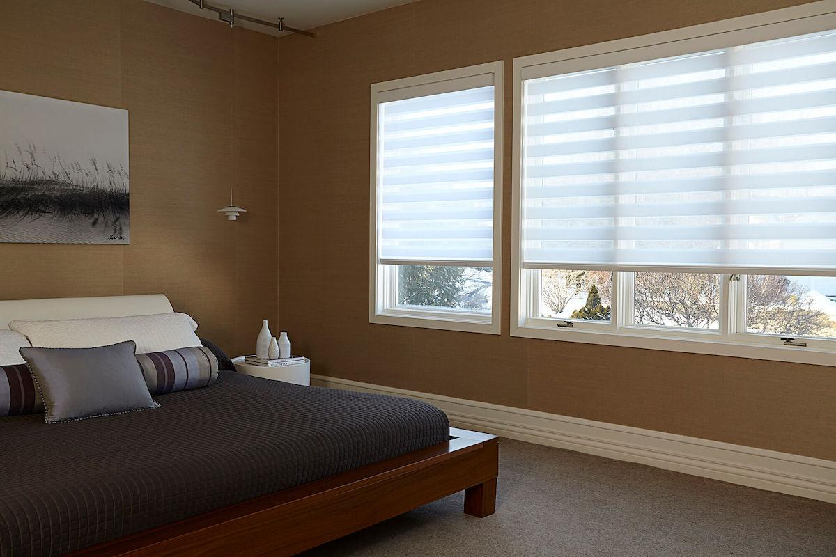 Cascade Elegance linen sheer shades in a bedroom window