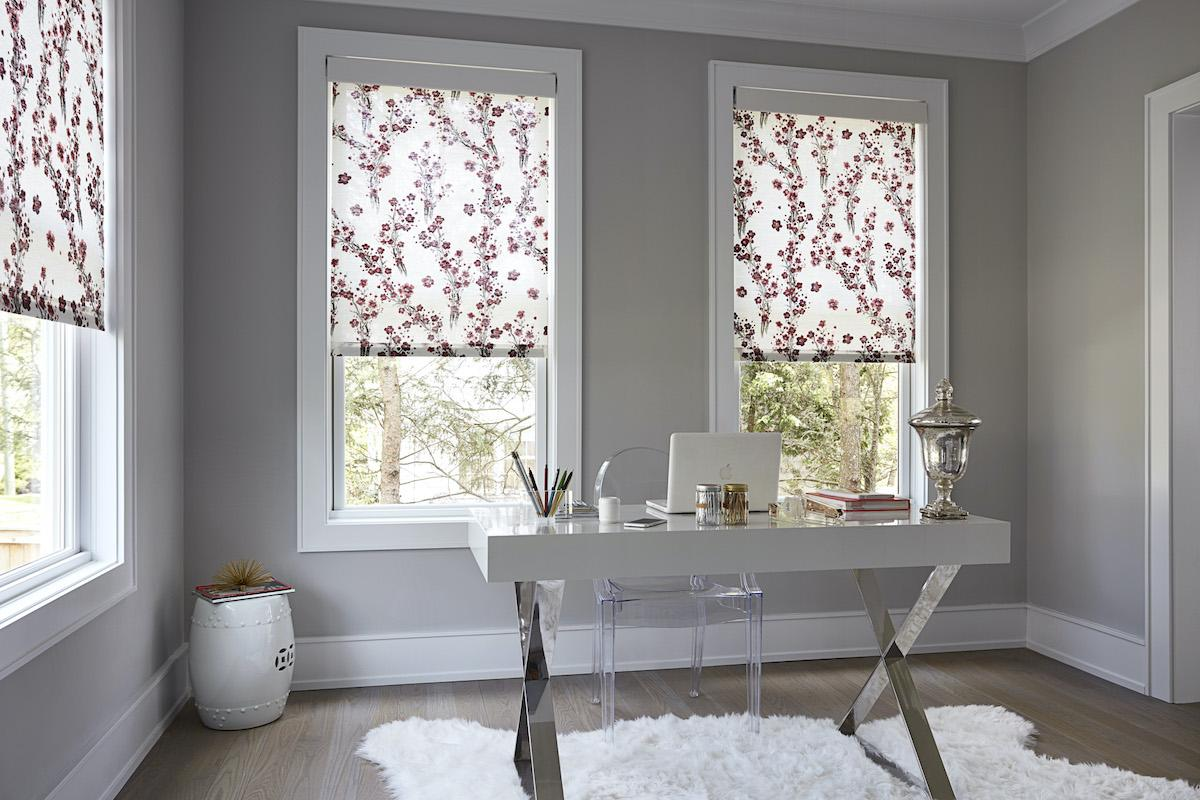 Floral roller shades, white with scarlet bloom print in a contemporary home office
