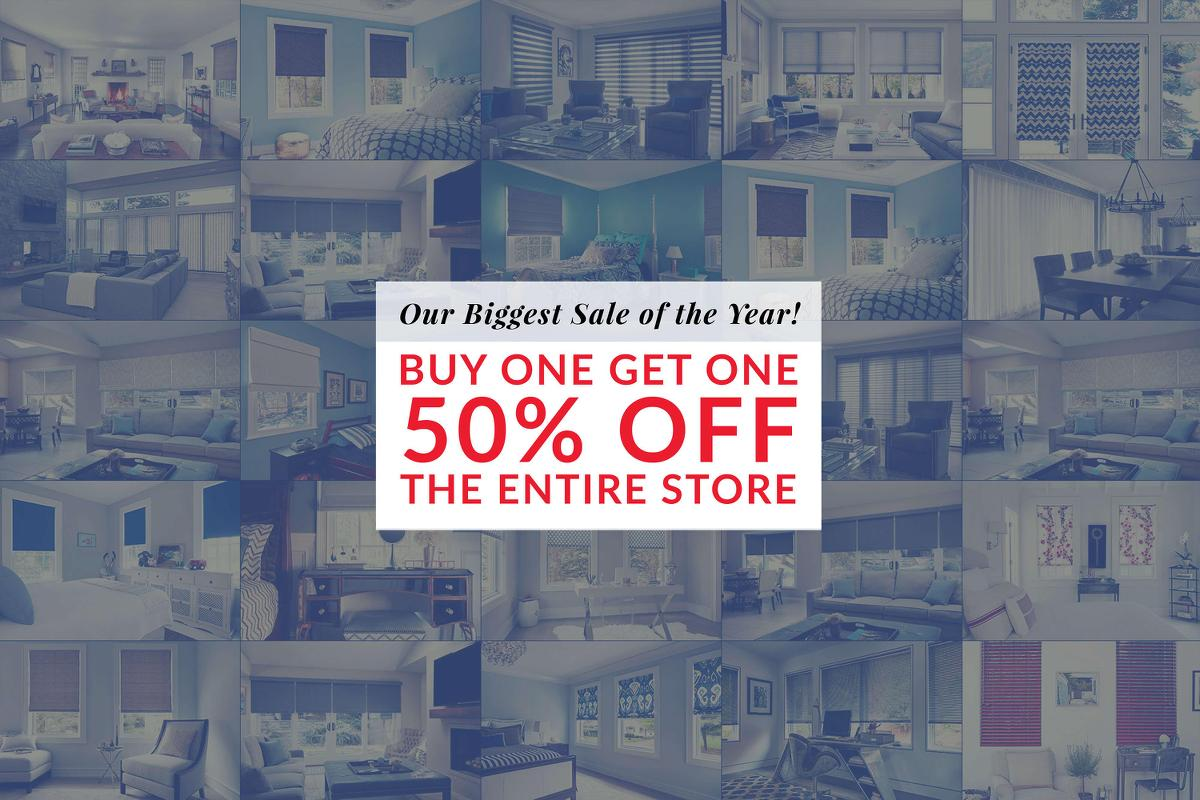 Variety of products that Blinds To Go has to offer, are all now BOGO 50% OFF