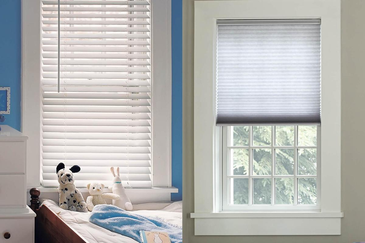 Cordless Faux Wood Blinds are perfect companion for a child's bedroom.