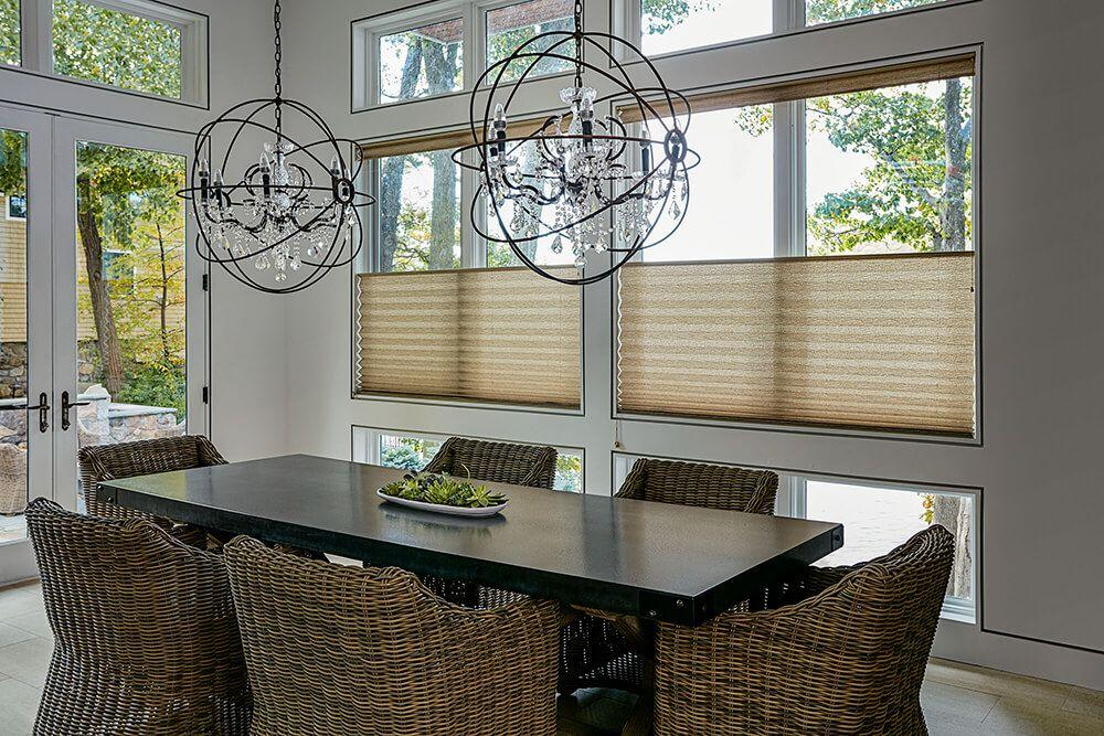 Nairobi grand pleated shade in the dining room