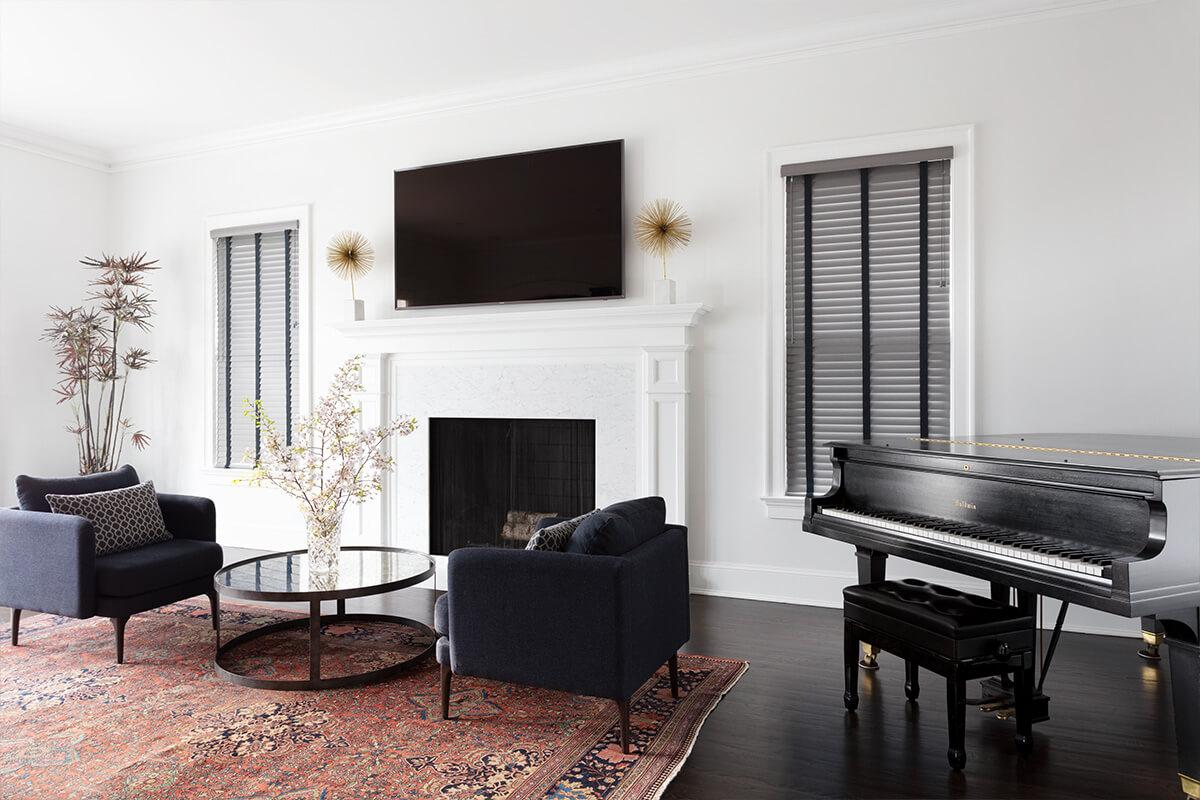 Faux Wood Tones Lite in Charcoal with Midnight Blue fabric tape in living room with a piano.