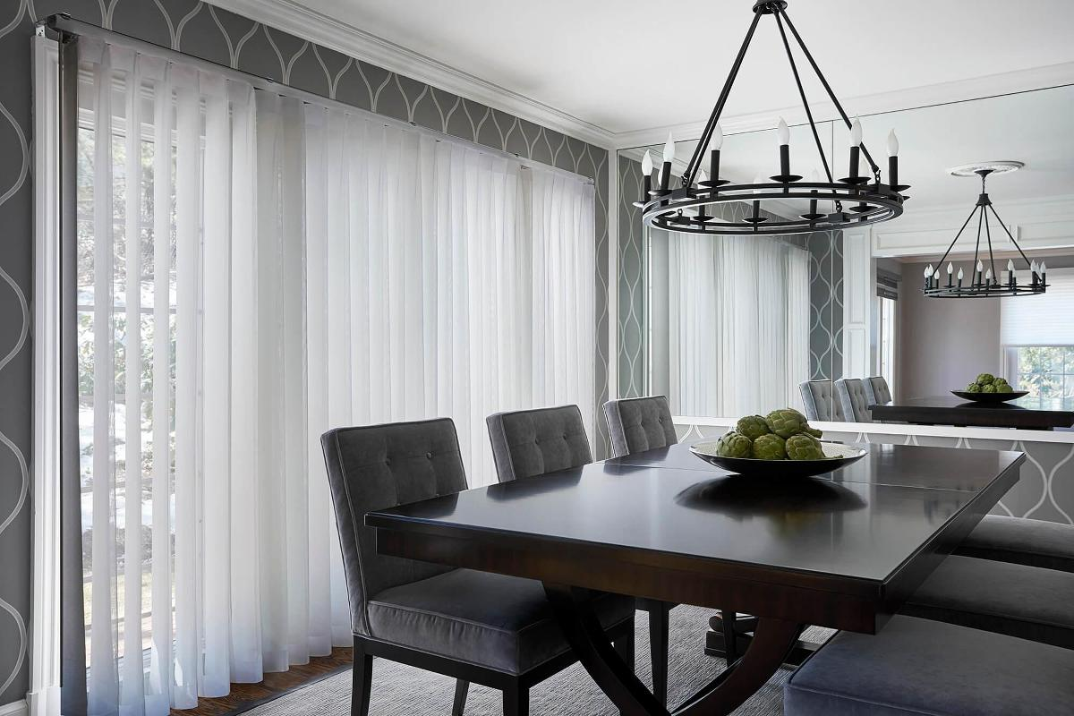 Dining room showcasing the new Allure Privacy Sheers