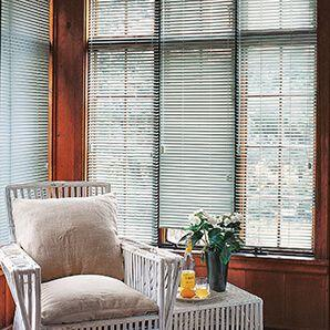 Budget friendly aluminum mini blinds gives any room a decorative touch.