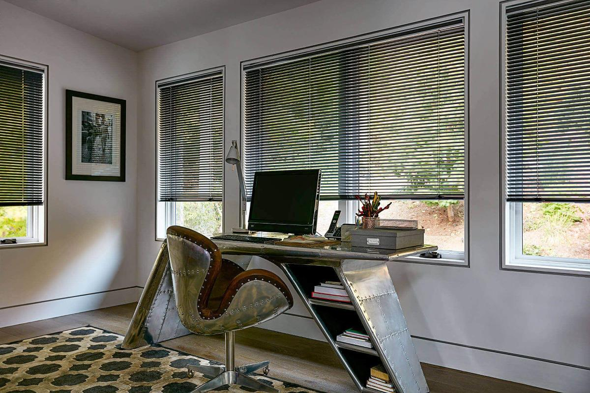 Softlook Designer aluminum mini blind had a sleek design for a clean look in a study or office space.