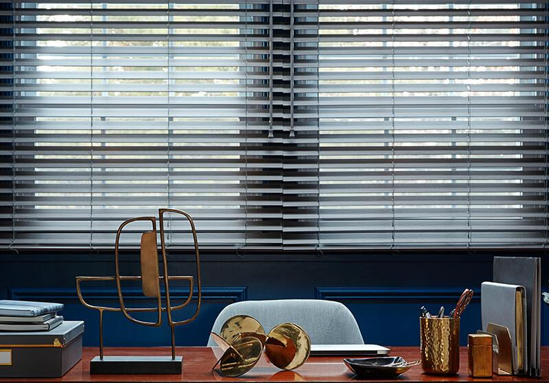 Faux wood blinds cordless option in office