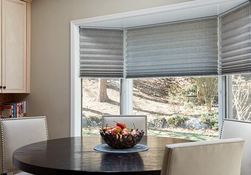 cordless pleated shade option dining room