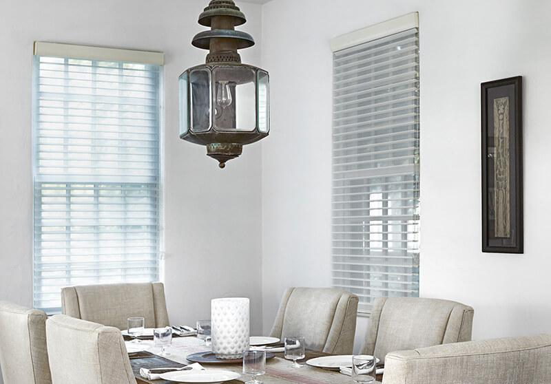 Sheer shades cordless option dining room