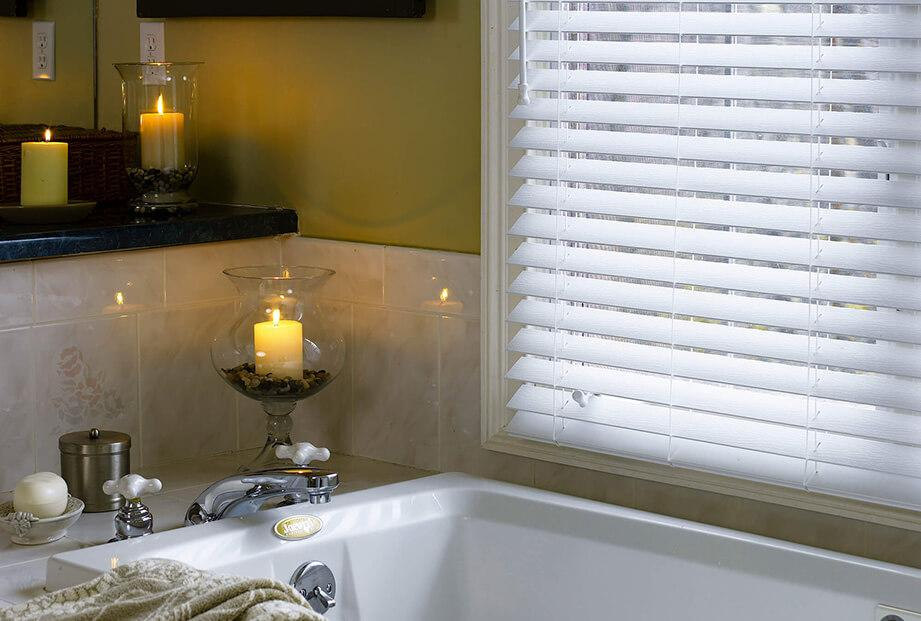 Faux Wood Classic Replica White for window near bath tub.