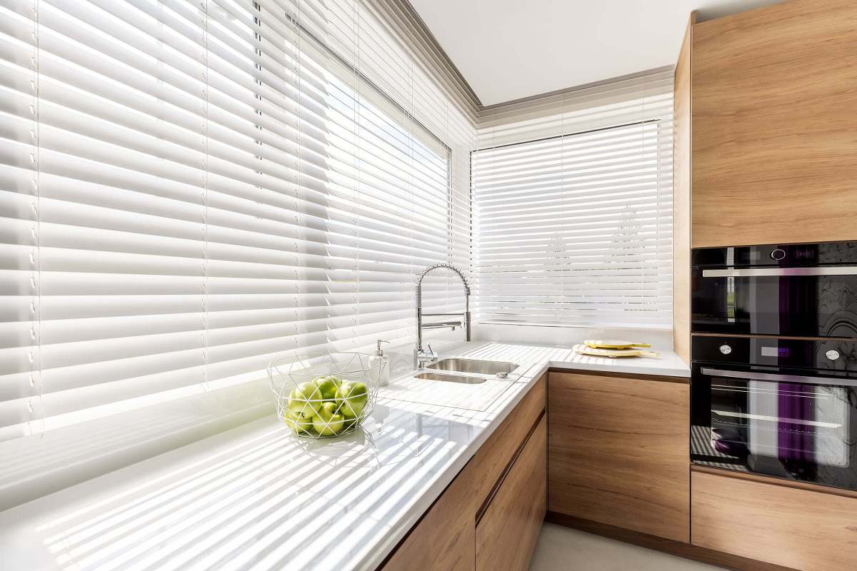 Cordless Faux Wood Blinds in a modern kitchen