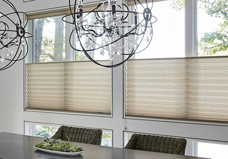 Motorized pleated shade option dining room