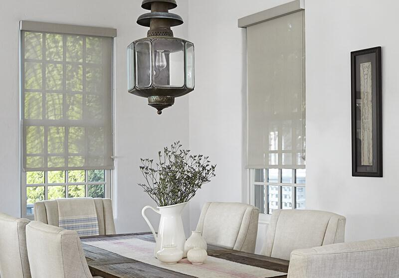 Motorized solar shades dining room