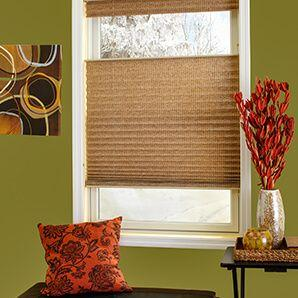 Our custom made pleated shades are available in a wide range of fabrics.