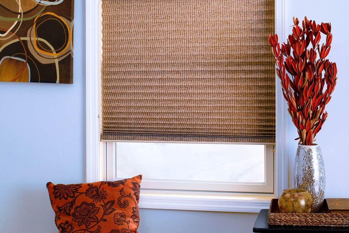 The blackout liner on these foliage pleated shades help keep light out of this den.