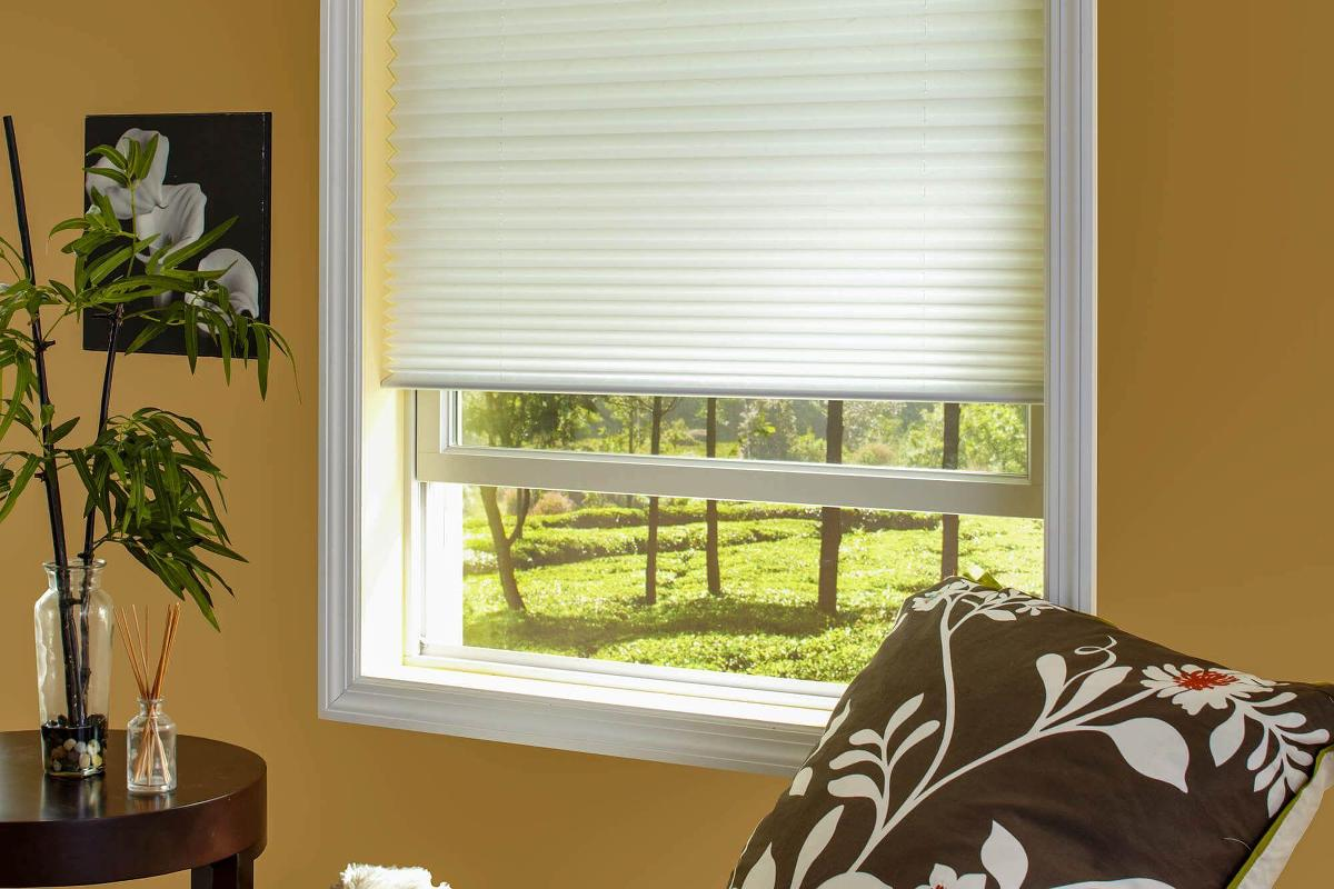The den is a perfect spot to install a pleated shade due to the versatility of the shade.
