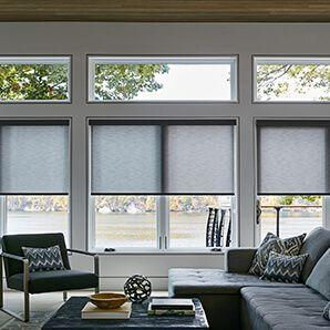 Roller shades are available in both blackout fabrics and light filtering fabrics