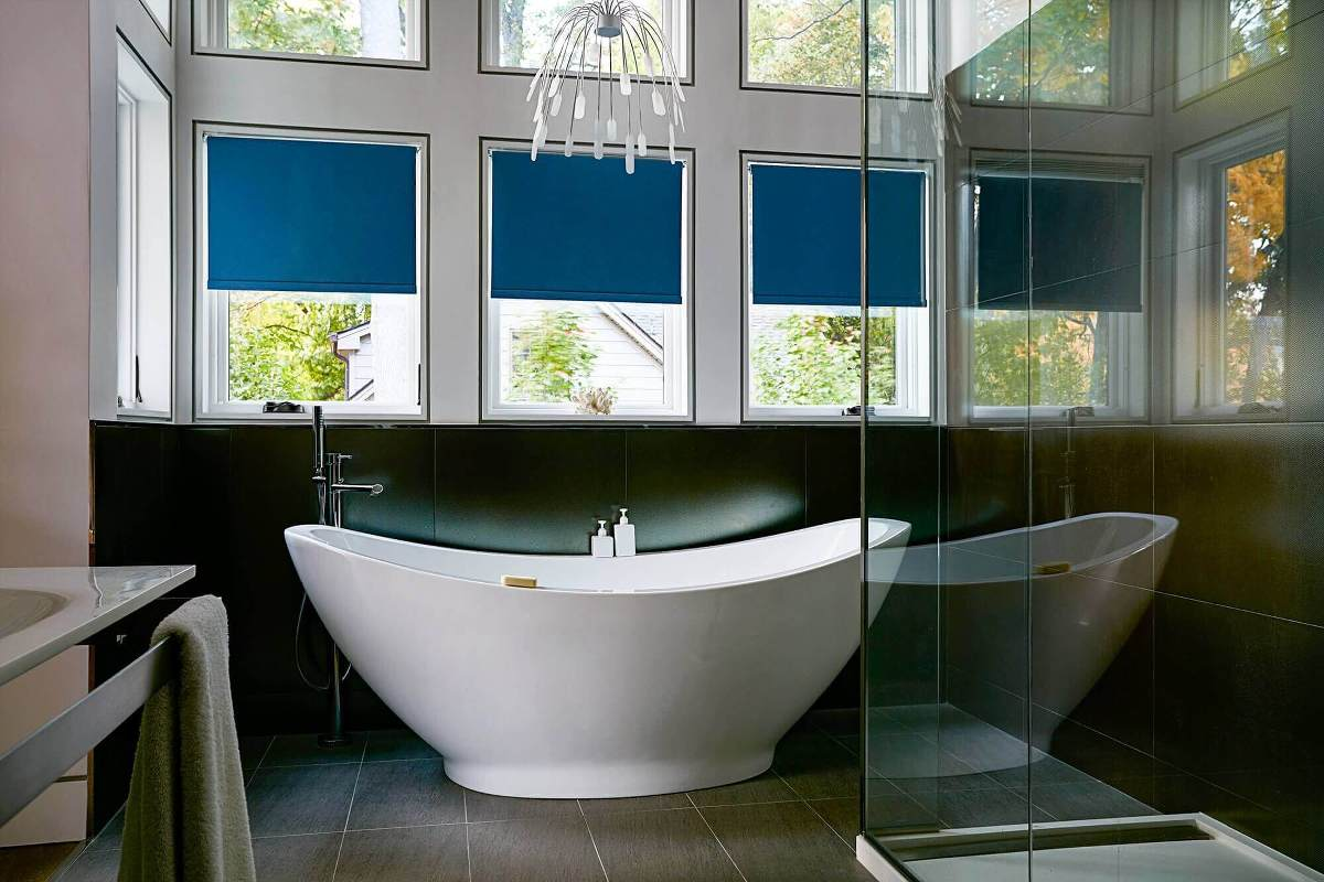 These Bathroom Windows Have Fabric Blackout Roller Shades, Which Keeps The  Soft Look Of Fabric