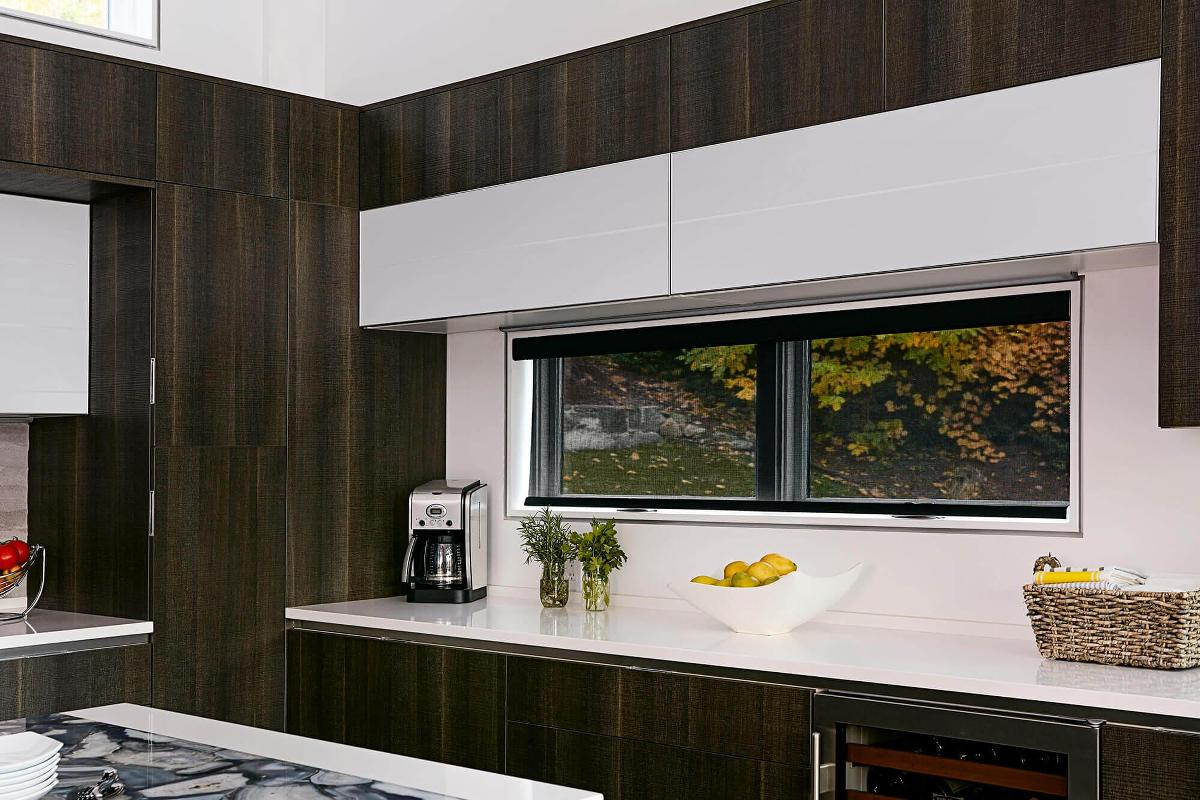 Tokyo Roller shades features in a kitchen setting.