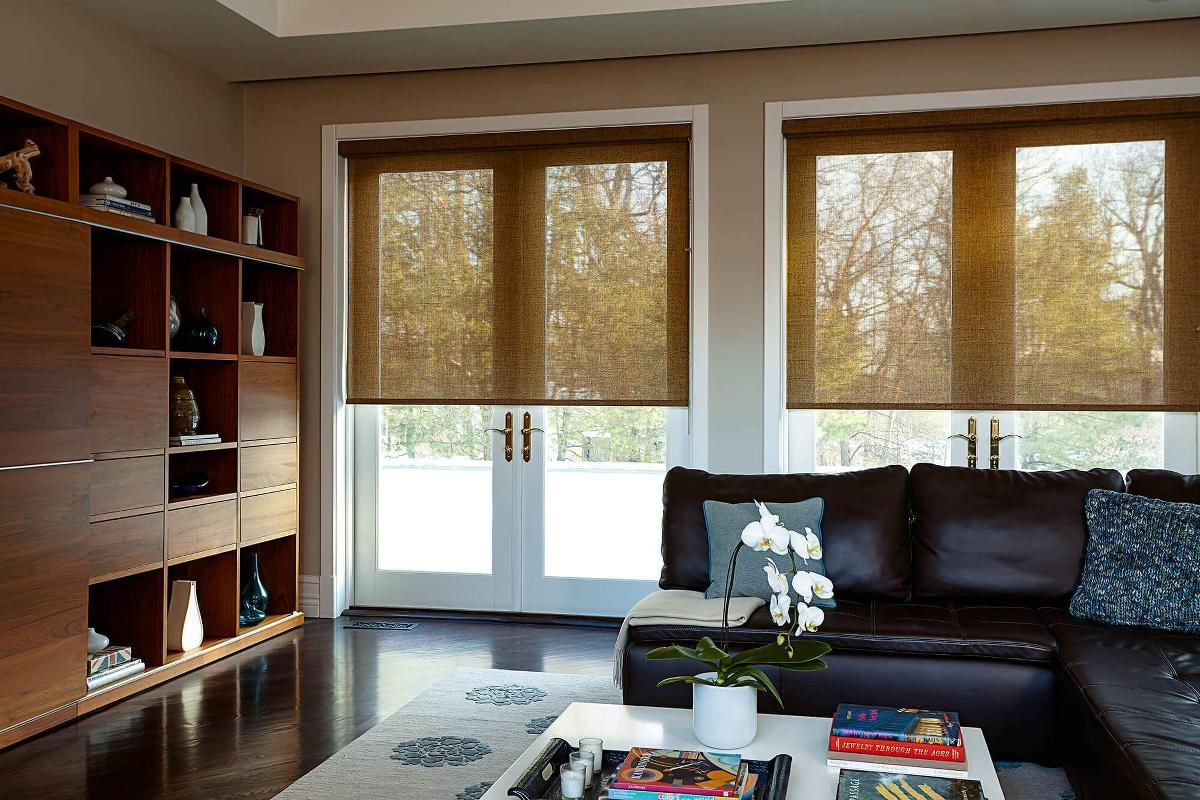 These solar shades complete this beautiful living room while still keeping the outside view.
