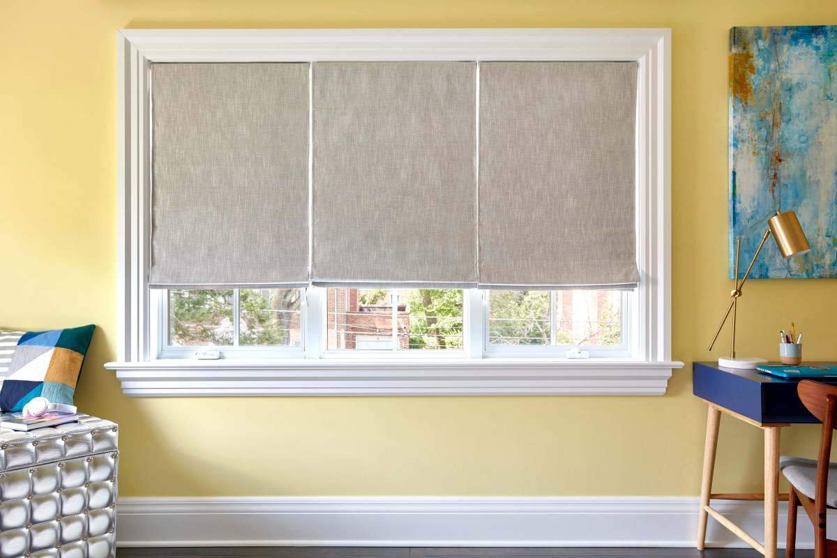Roman Shades, Carolina in the color Dove.