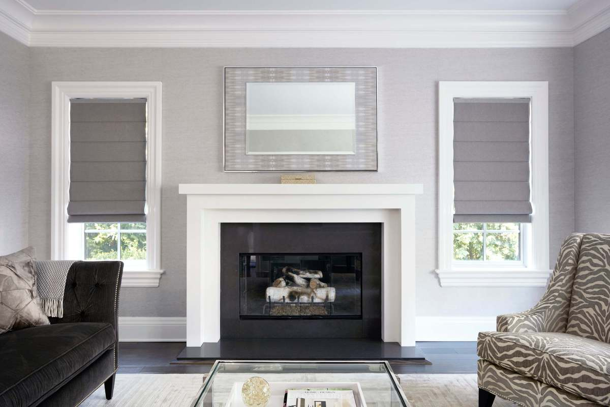 textured roman shades in a beautiful living room