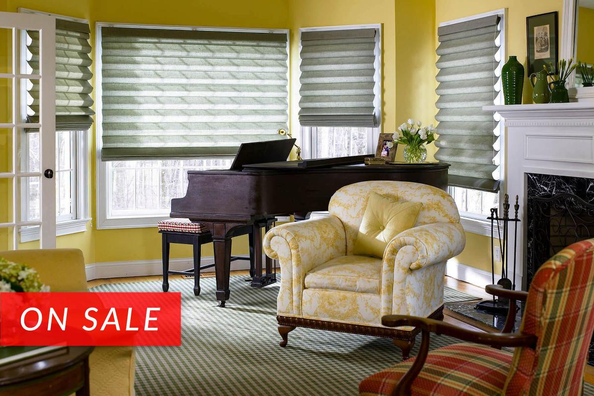 The linen fabric roman shades ofter a soft texture and are available in a large selection of colors