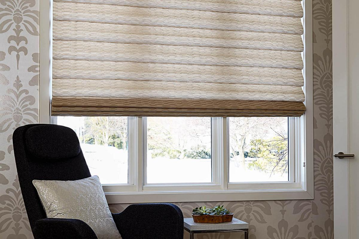 Solid fabric roman shades come in a