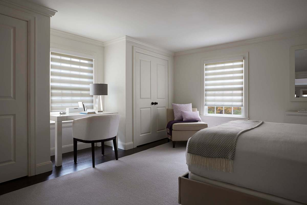 These room darkening Cascades work perfectly for this bedroom setting.