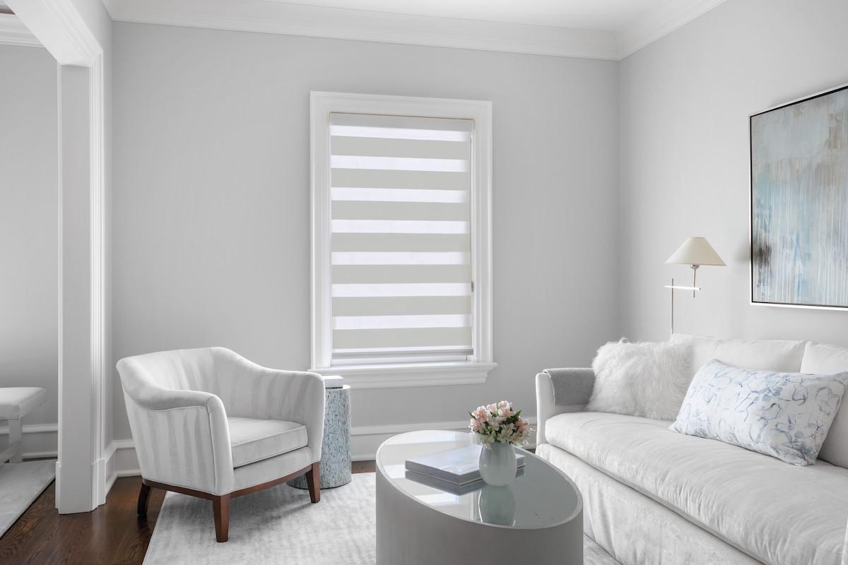 A small window in a light-colored, contemporary living room features a white Cascade sheer shade positioned all the way down with stripes positioned in the closed position
