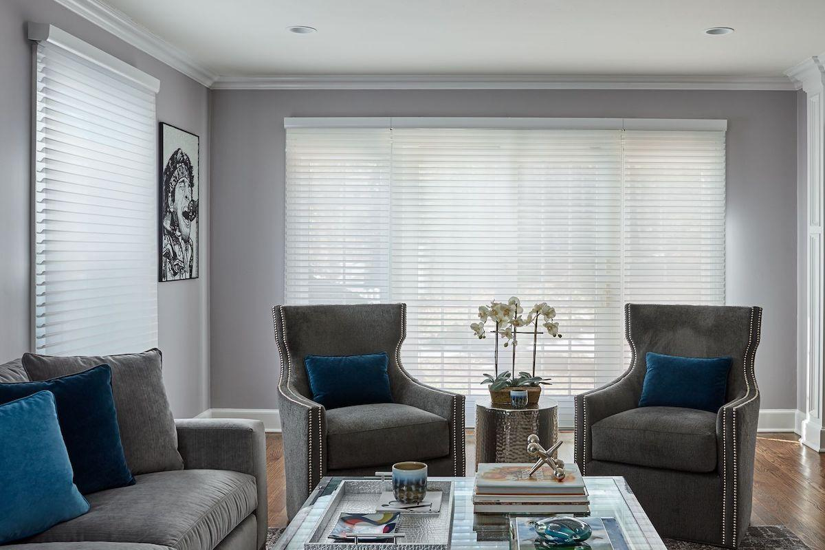 White Serenity sheer shades allow light to filter into a contemporary living room.