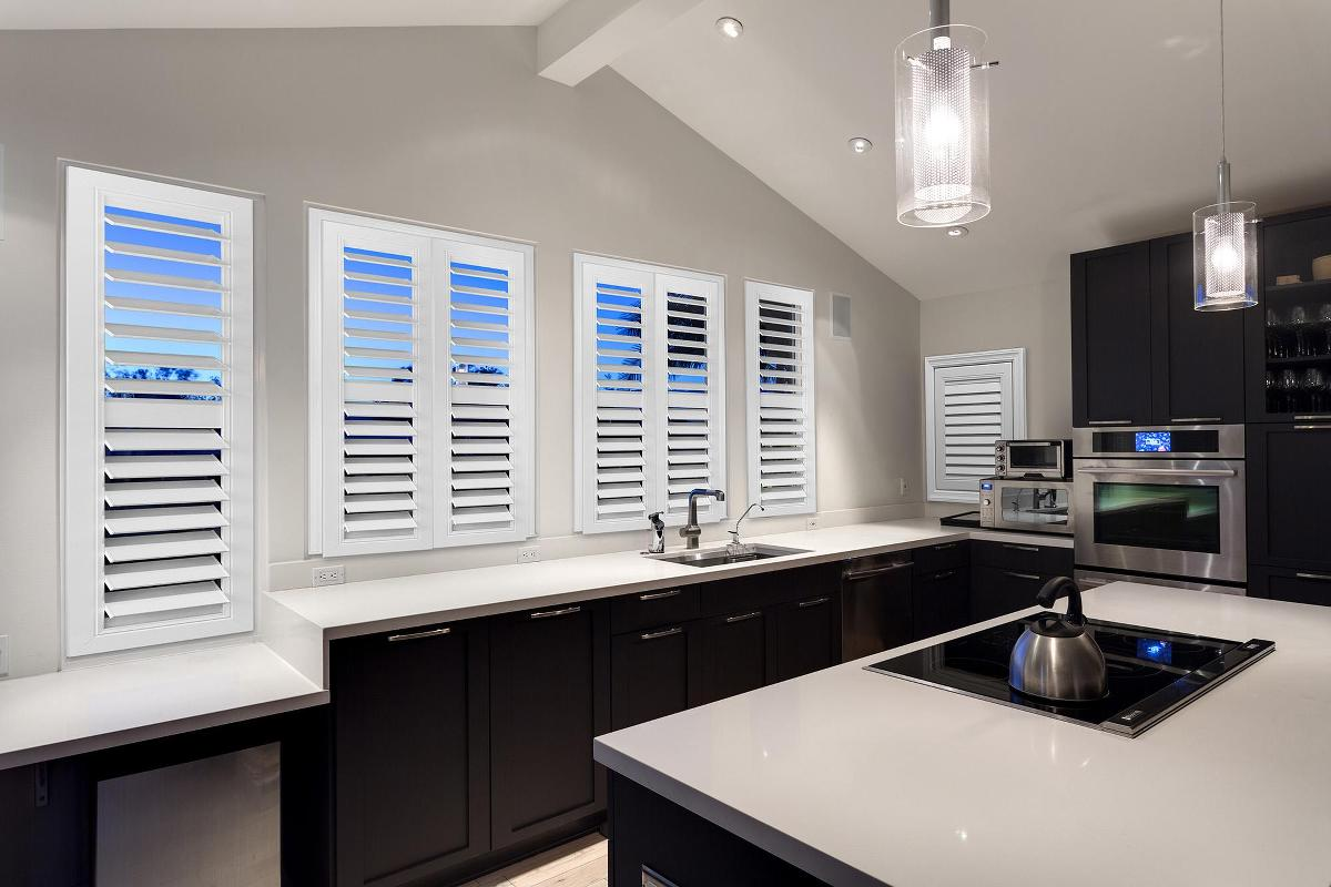 Morview Shutters in a kitchen setting.