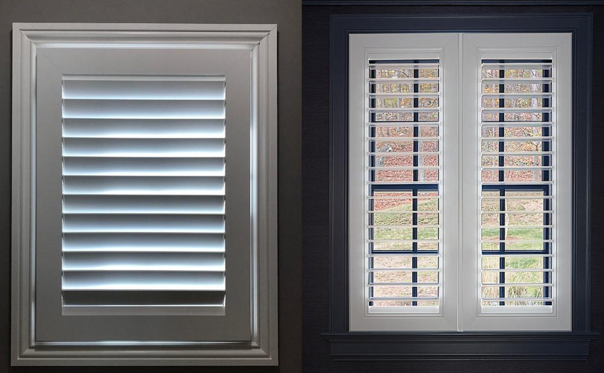 Side-by-side images of a window with an indoor shutter with 3 1/2