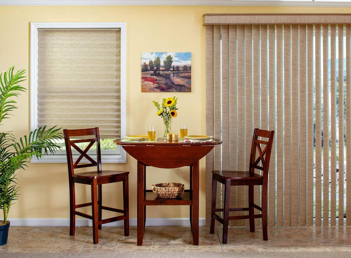 Fabric Vertical blinds in the breakfast nook allows you to control how much privacy and  light coming in