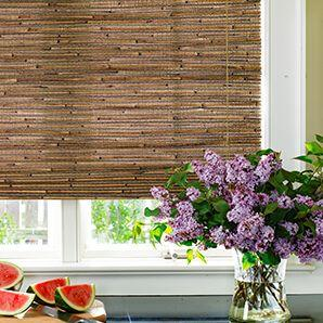 This woven wood shade was made from bamboo jute and grass.