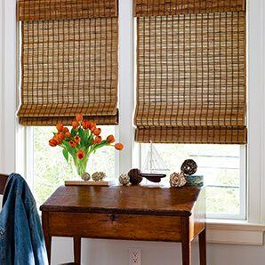 Woven wood shades have many different options and features that give them a very custom feel. like you see on these office shades.
