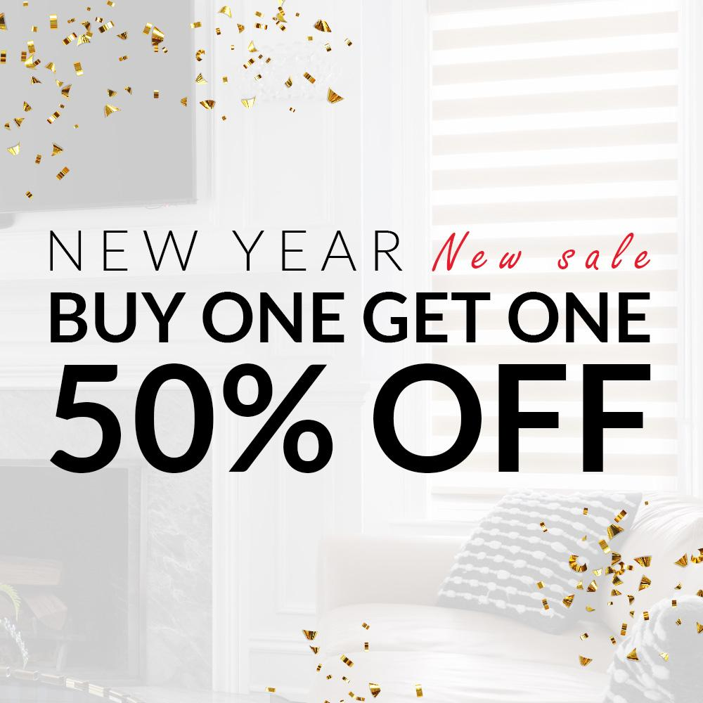 New Year, new sale. Buy one get one 50% off.